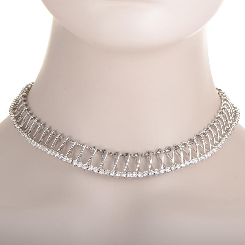 18K White Gold Openwork Diamond Collar Necklace