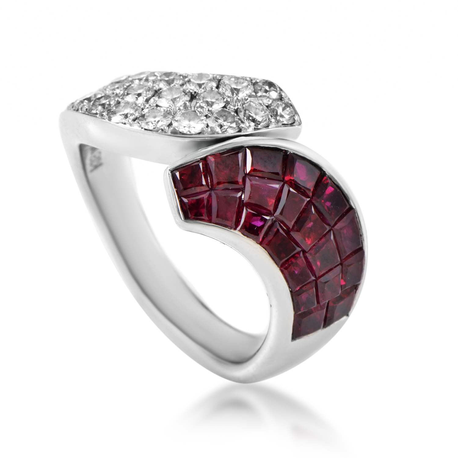 Women's 18K White Gold Diamond & Ruby Ring MFC06-061316
