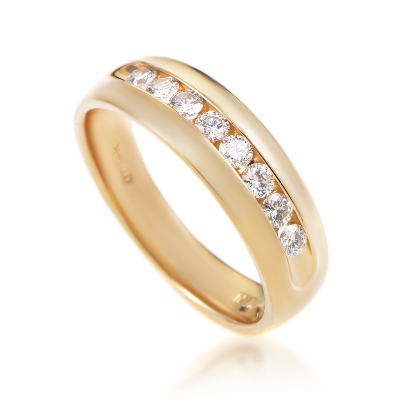 Men's 14K Yellow Gold Diamond Wedding Band Ring MFC06-071516