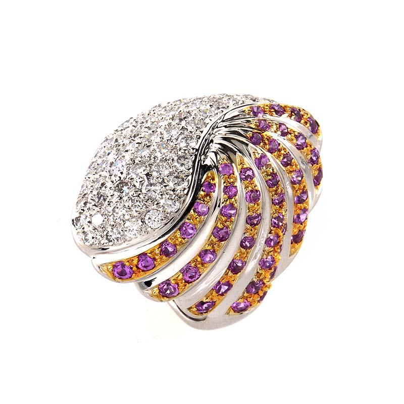 18K White Gold Multi Sapphire & Diamond Ring MFC06-073113