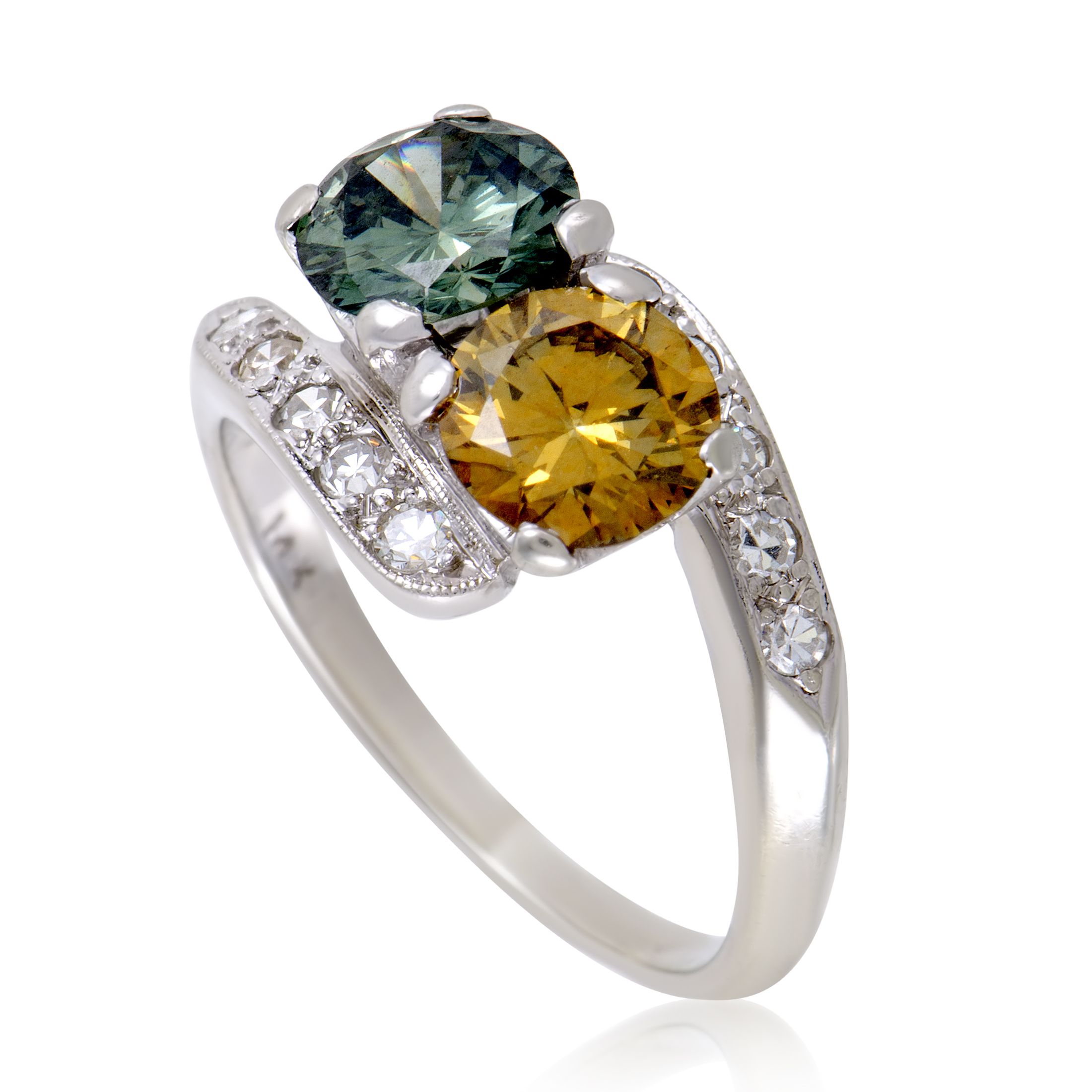 womens 14k white gold white yellow and green diamond ring. Black Bedroom Furniture Sets. Home Design Ideas