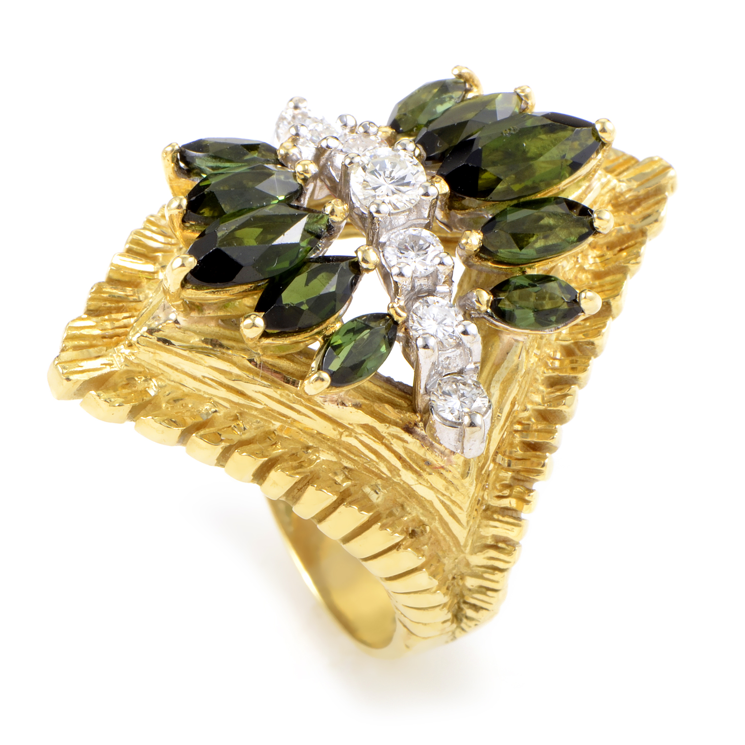 18K Yellow Gold Diamond & Green Tourmaline Ring MFC07-021816