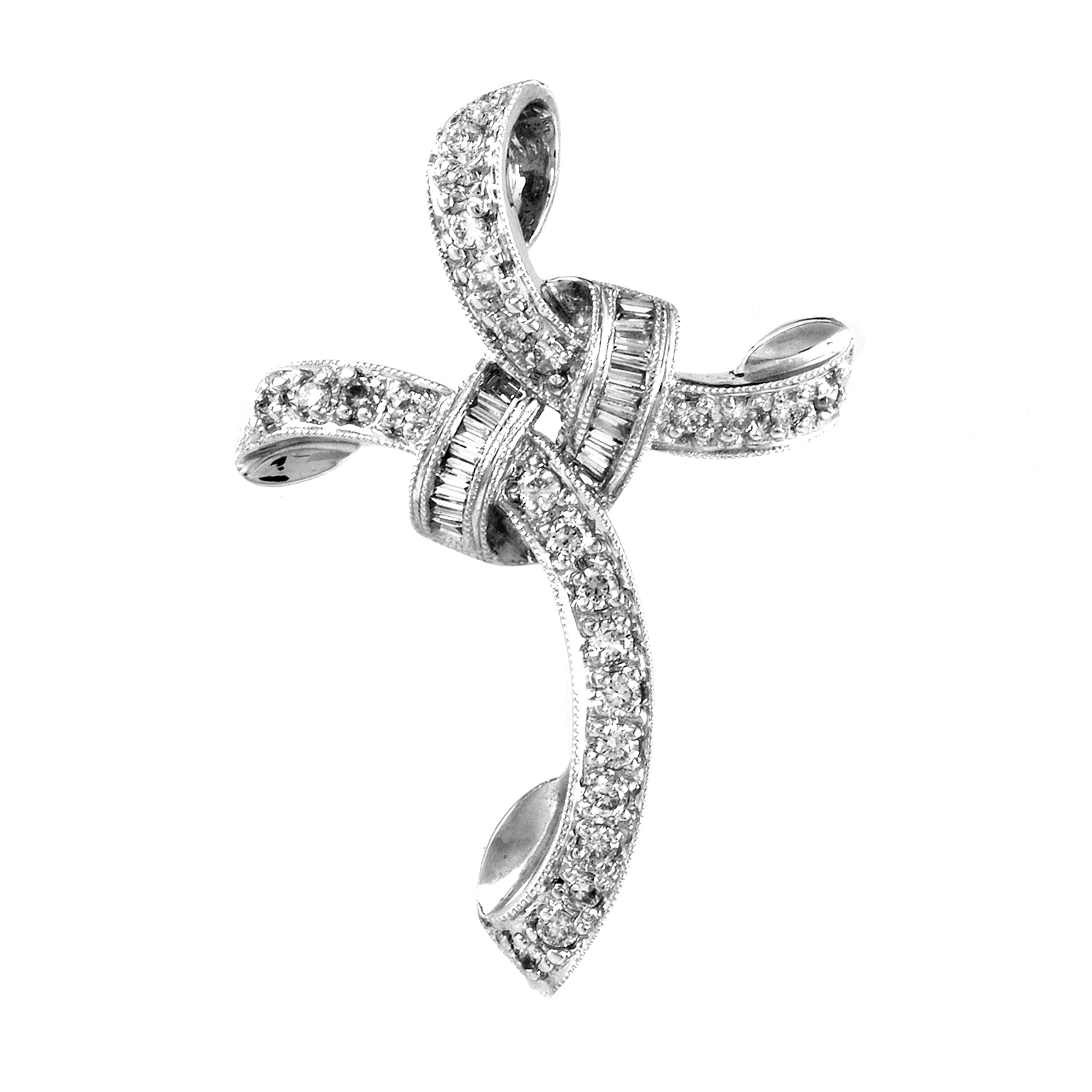 Women's 14K White Gold Twisted Diamond Cross Pendant MFC08-061716