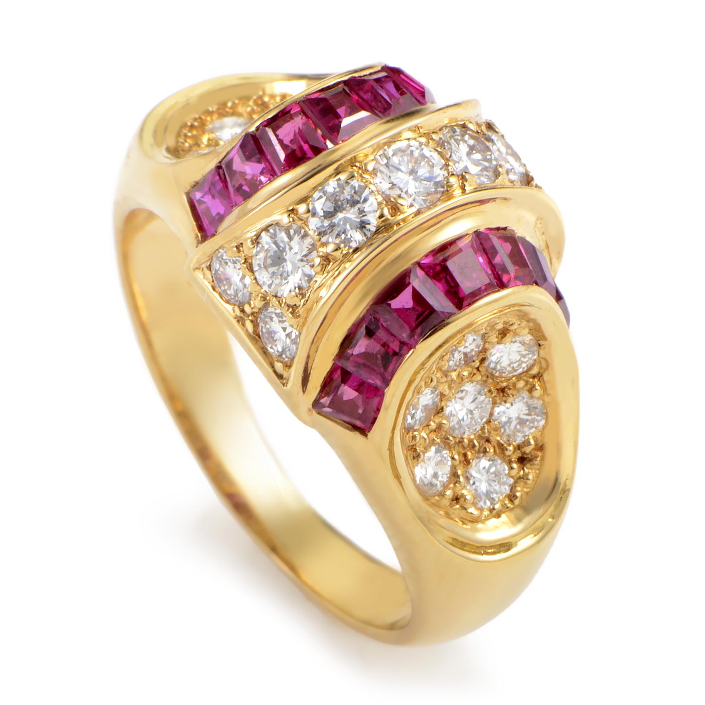 Women's 18K Yellow Gold Diamond & Ruby Ring MFC08-061316