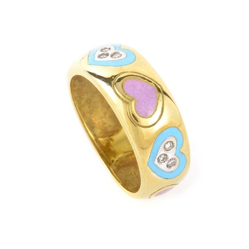 Playful 18K Yellow Gold Diamond Band Ring