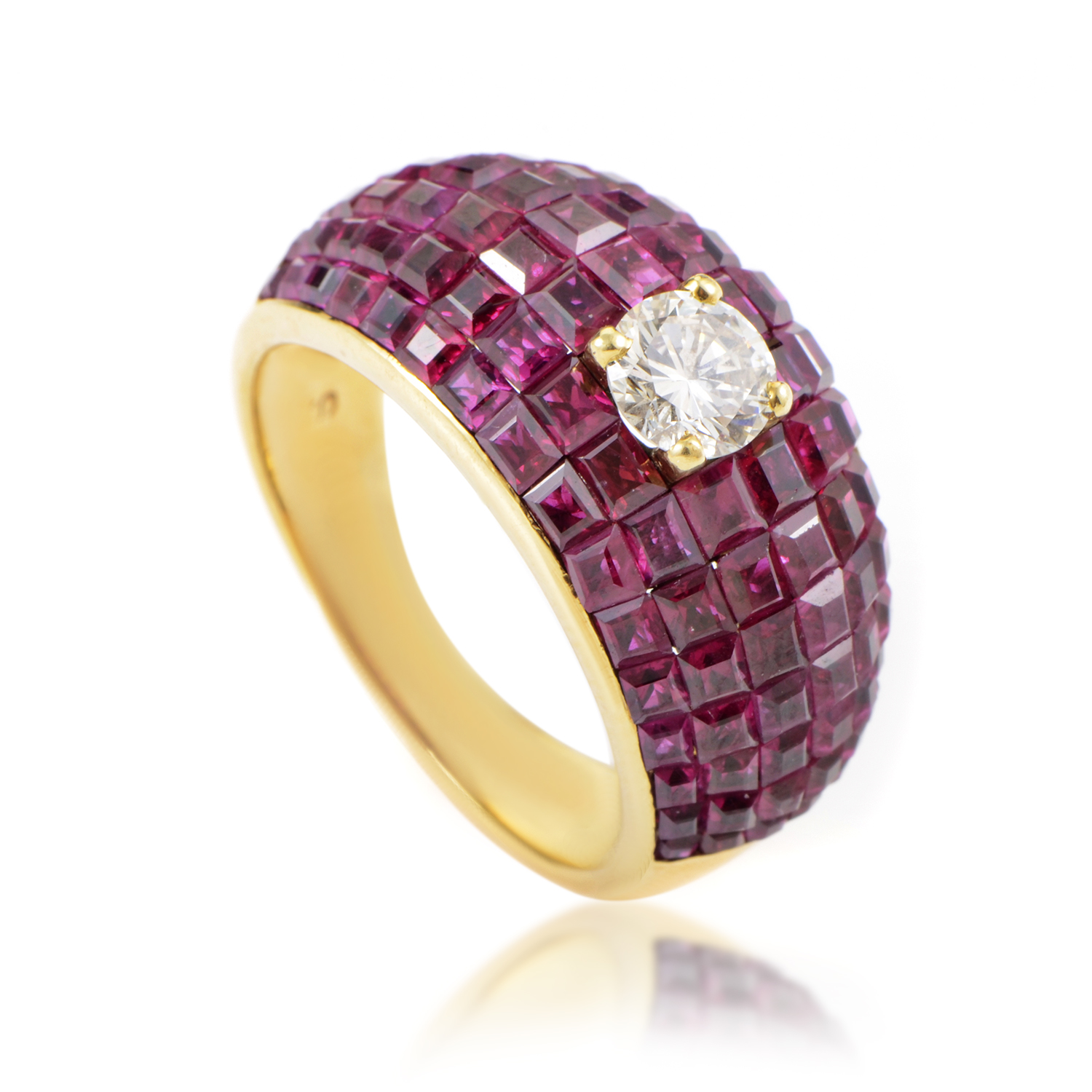 Women's 18K Yellow Gold Diamond Solitaire Ruby Ring MFC09-061316