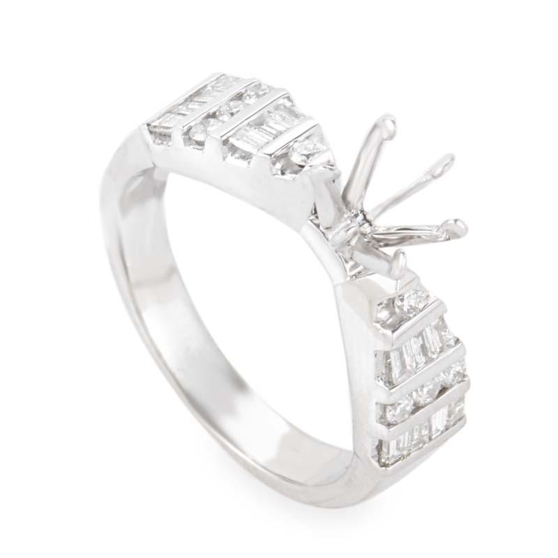 Radiant 18K White Gold Diamond Mounting Ring MFC09-062913