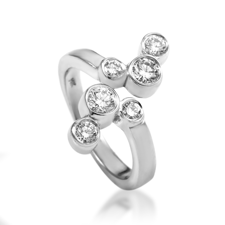 Women's 14K White Gold Diamond Bubbles Ring MFC09-071516