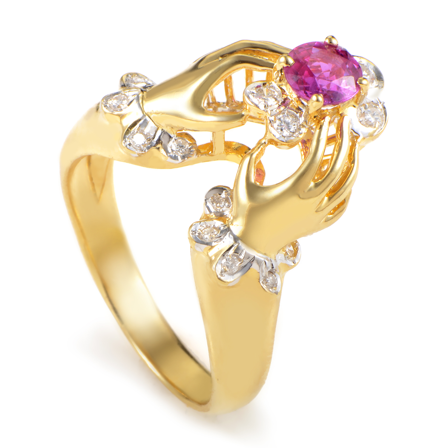 Women's 18K Yellow Gold Diamond & Ruby Hands Ring MFC10-061316