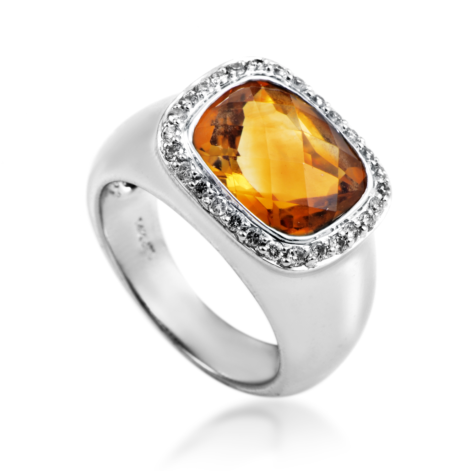 Women's 14K White Gold Diamond & Citrine Ring MFC10-071516