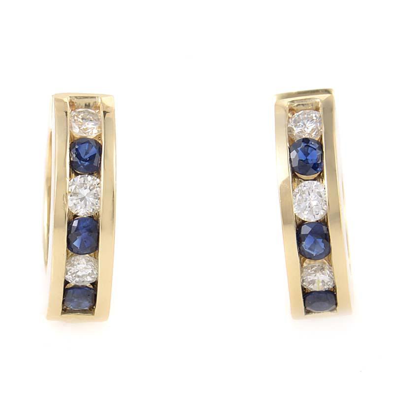 14K Rose Gold Sapphire & Diamond Hoop Earrings MFC10-121713RSA