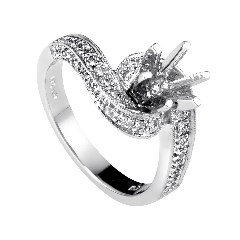 Women's 18K White Gold Diamond Engagement Ring Mounting MFC12-040913