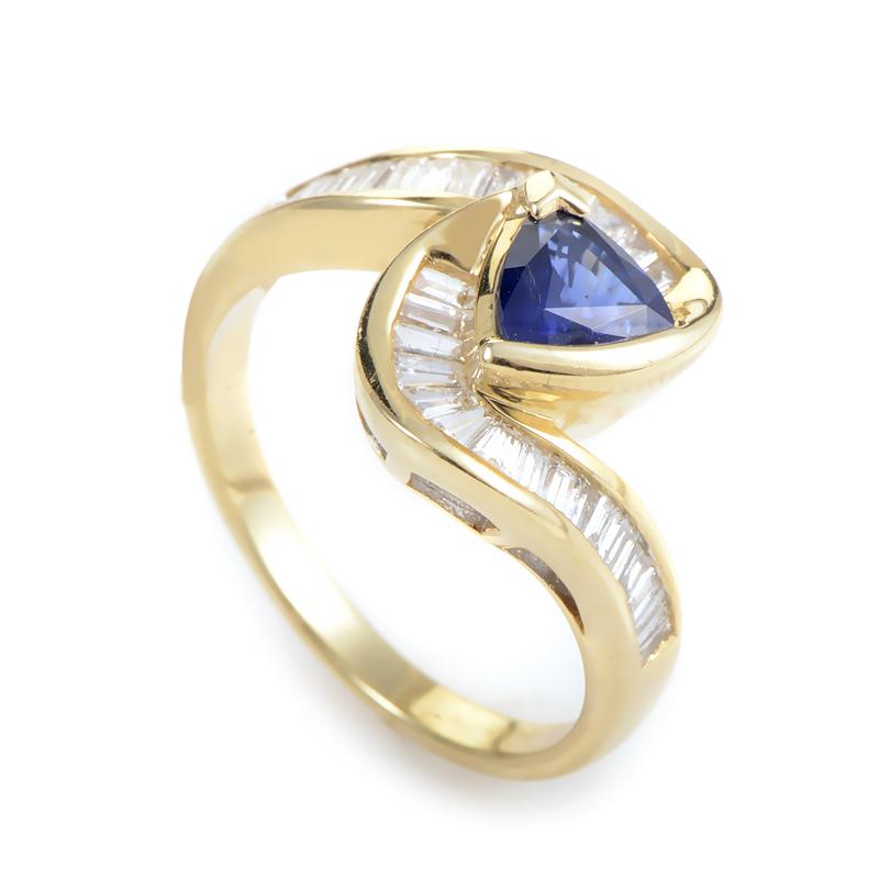 14K Yellow Gold Sapphire Diamond Ring MFC13-091614