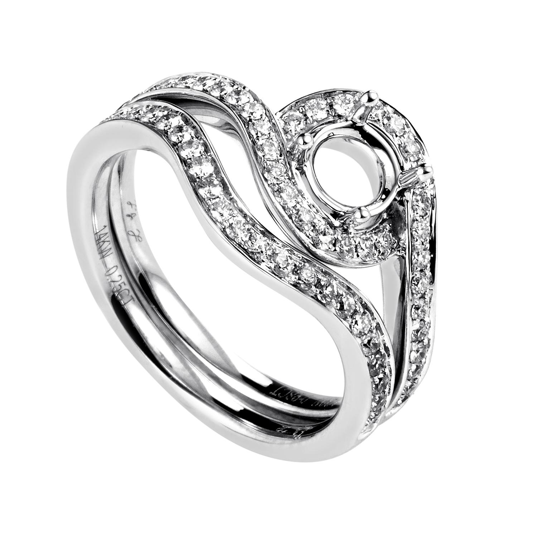 Women's 14K White Gold Diamond Bridal Mounting Set MFC14-060716