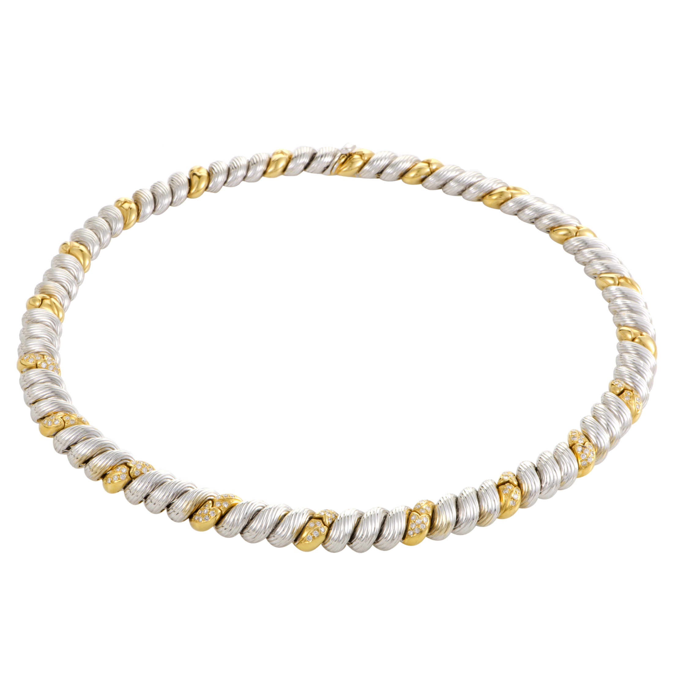 Womens 18K Yellow and White Gold Diamond Collar Necklace