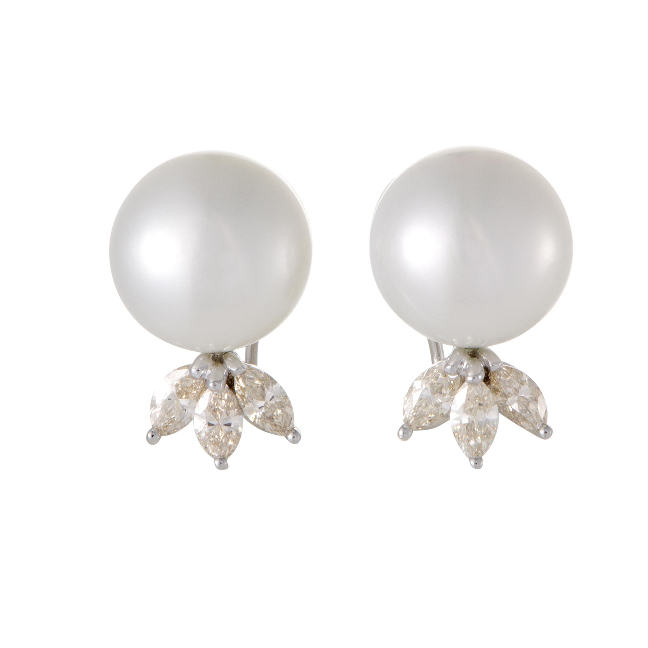 Womens 18K White Gold Diamond and Pearl Earrings