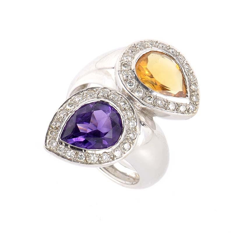 18K White Gold Amethyst & Citrine Diamond Ring MFC15-040513
