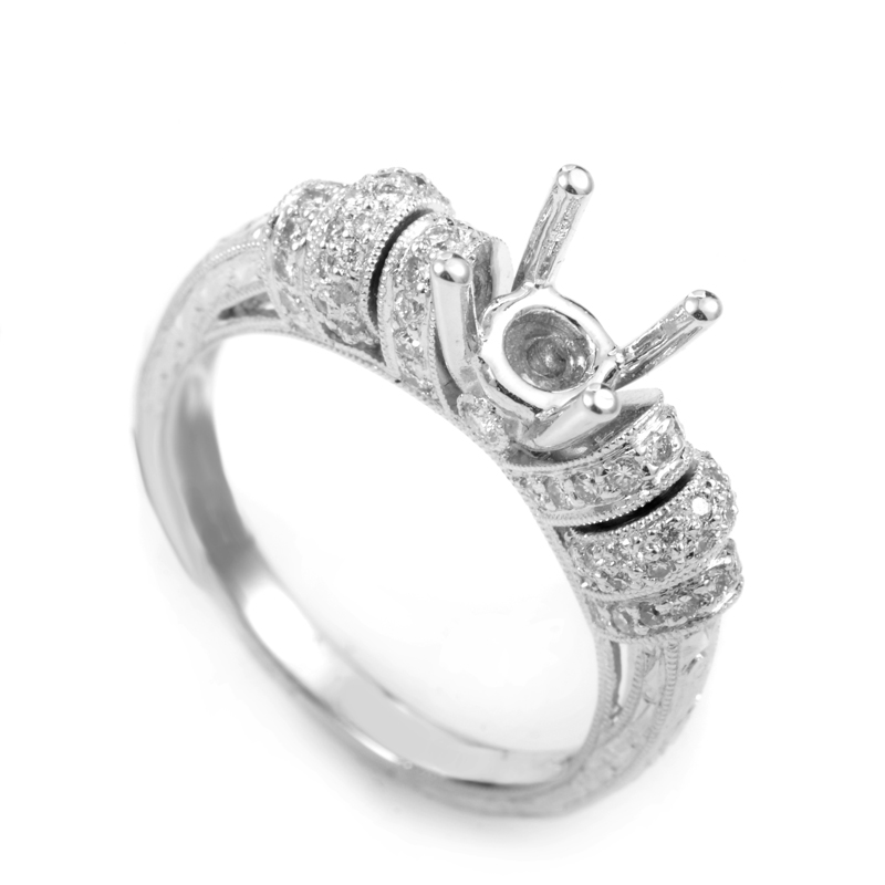 18K White Gold Diamond Engagement Ring Mounting MFC15-040913