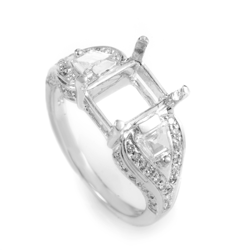 18K White Gold Diamond Engagement Ring Mounting MFC17-052213