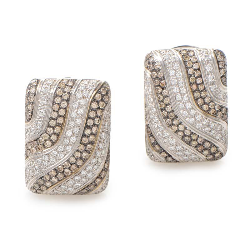 18K White Gold Brown & White Diamond Earrings