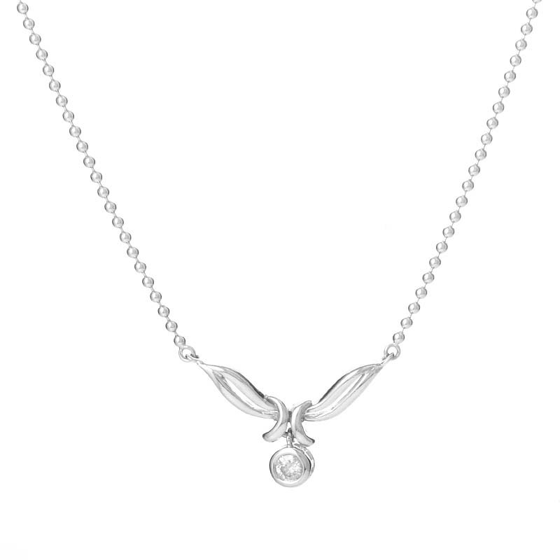 18K White Gold Diamond Charm Necklace