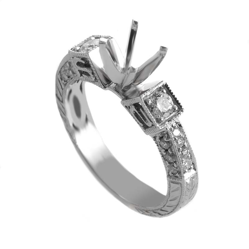 14K White Gold Diamond Mounting Ring MFC50-042114W