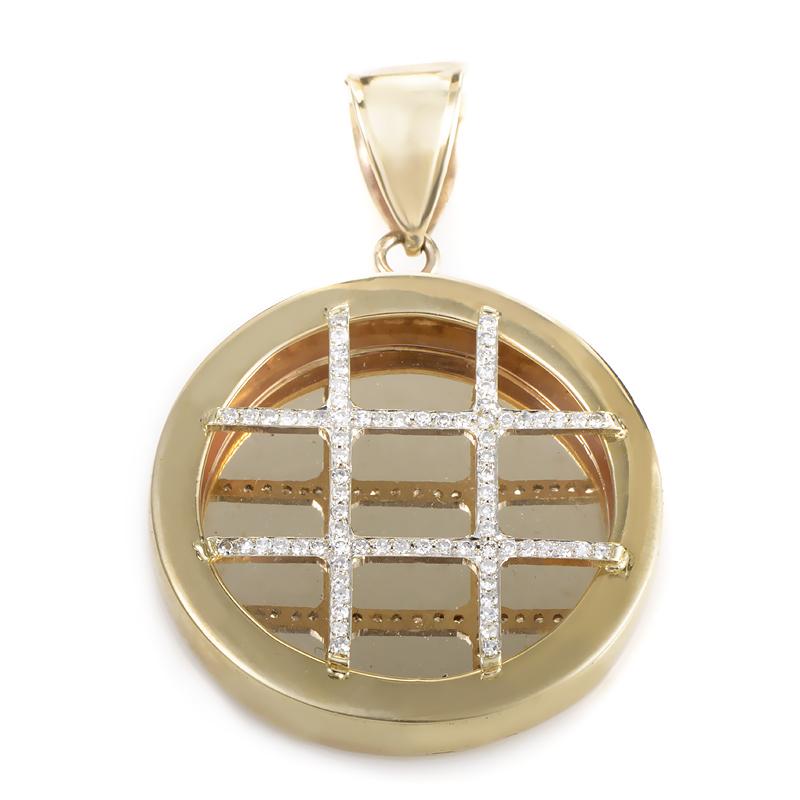 10K Yellow Gold Diamond Waffle Pendant MFCO03-010813
