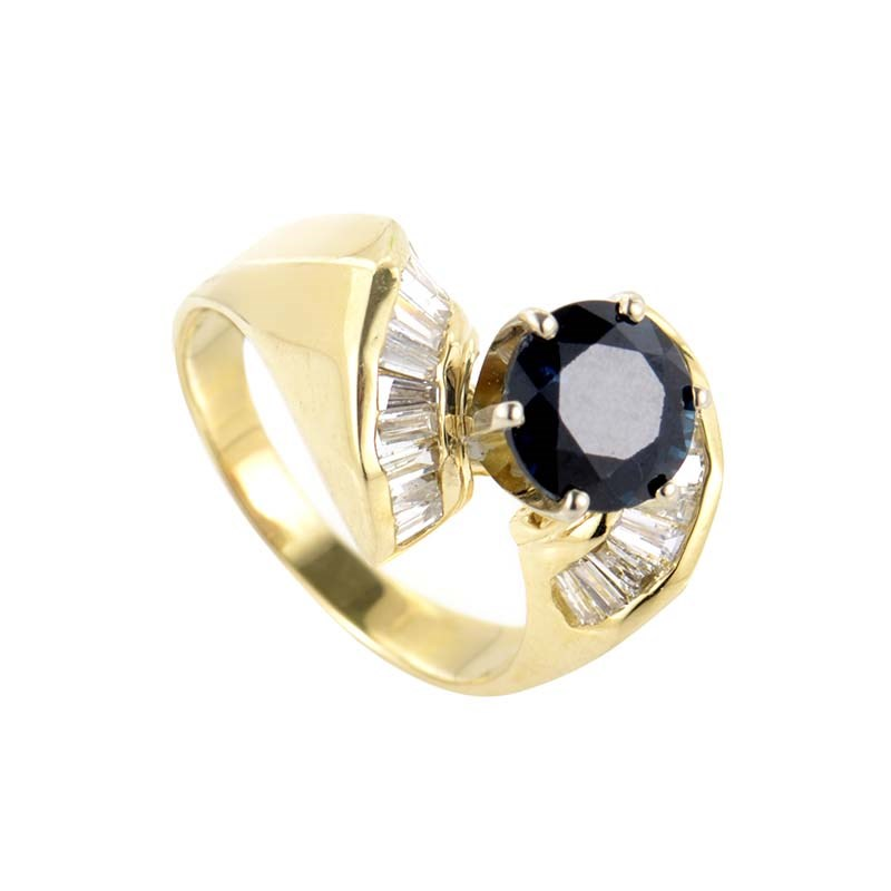 Regal 14K Yellow Gold Sapphire & Diamond Ring