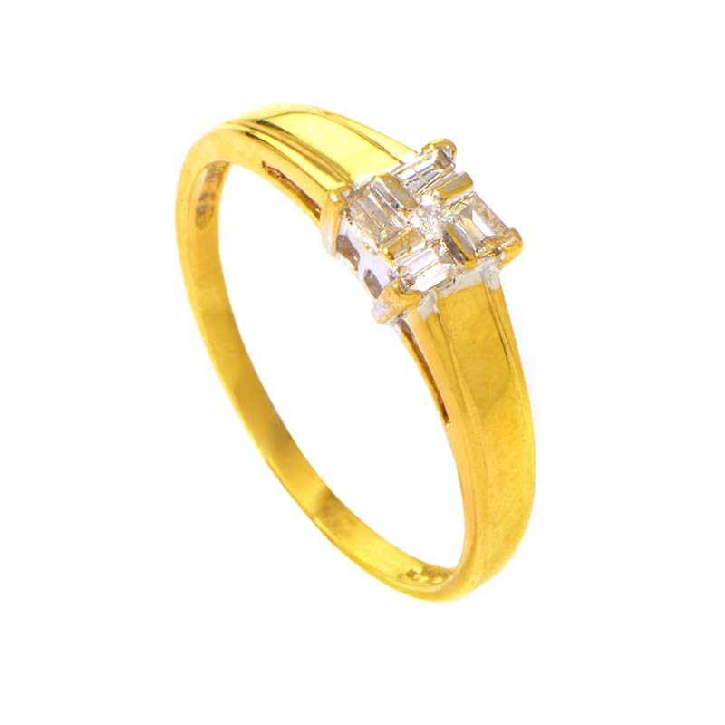10K Yellow & White Gold Diamond Ring
