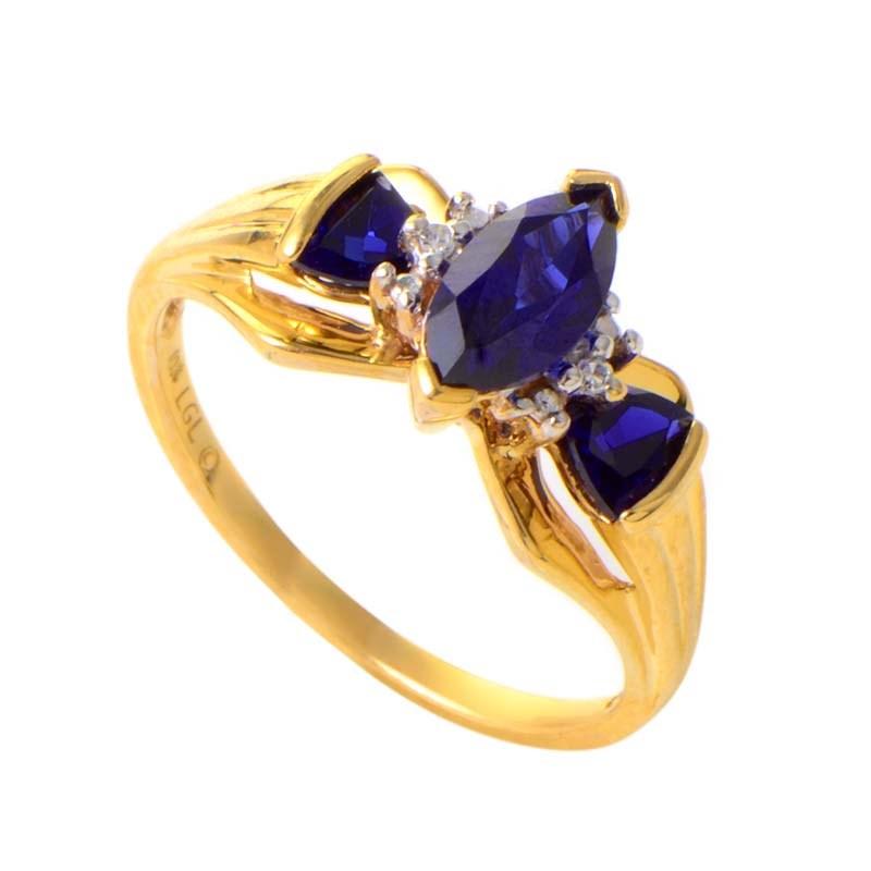 10K Yellow Gold Sapphire & Diamond Ring