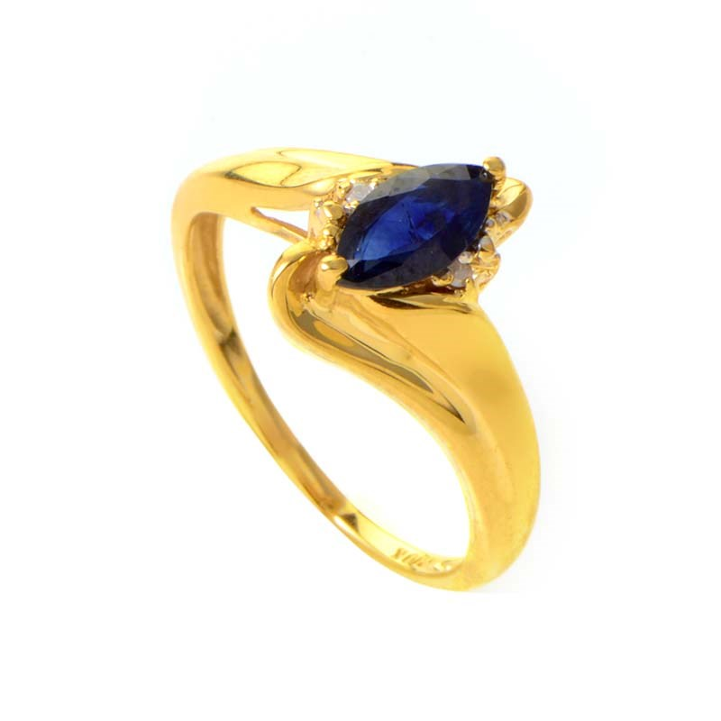 10K Yellow Gold Sapphire & Diamond Ring MFCO27-010813