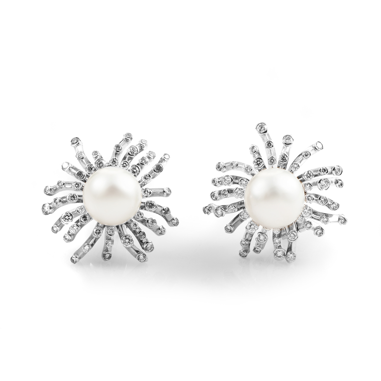 18K White Gold Diamond & Pearl Clip-On Earrings N91/1