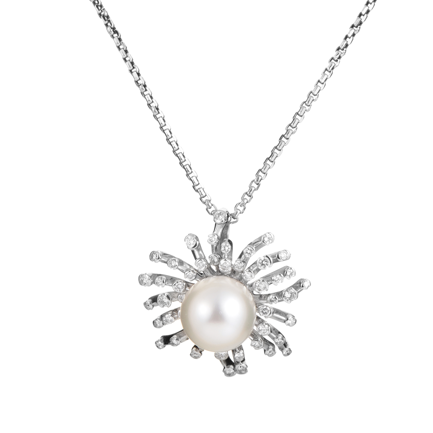 18K White Gold Necklace With Diamond & Pearl Pendant