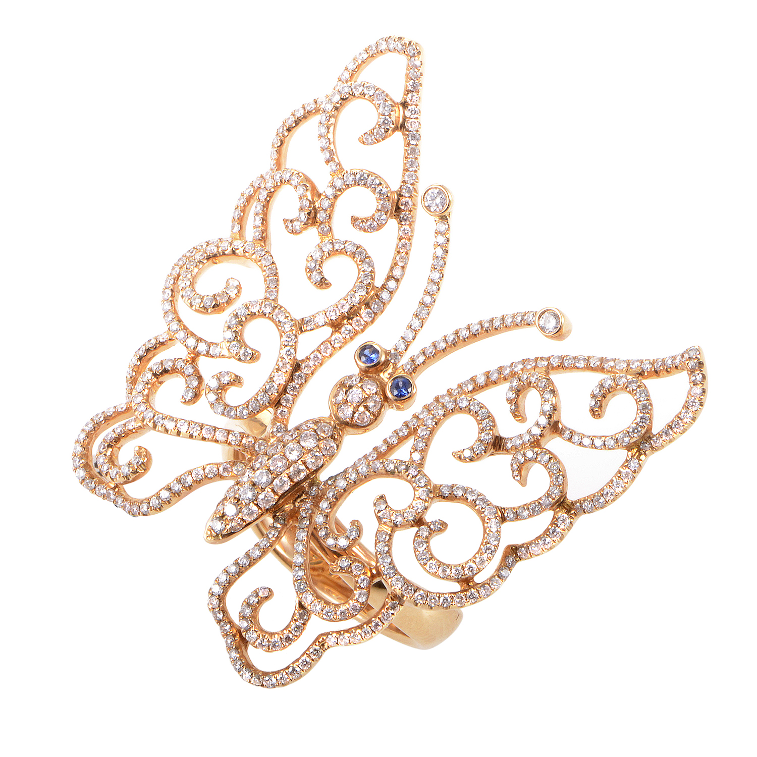 18K Rose Gold Diamond & Sapphire Butterfly Ring NE-46