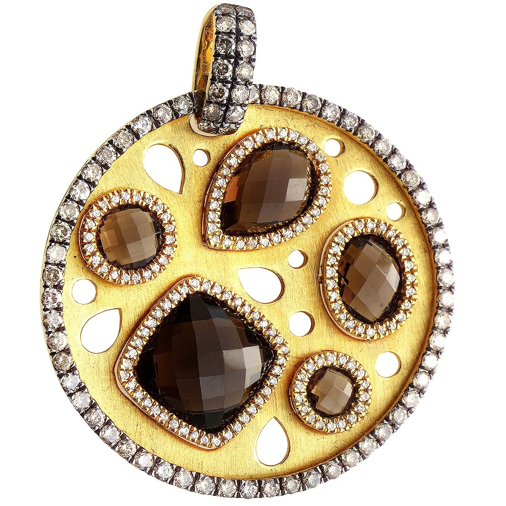 18K Yellow Gold Smoky Quartz & Diamond Enhancer Pendant
