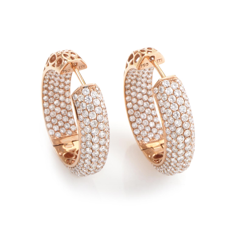 18K Rose Gold Diamond Pave Hoop Earrings PM-13