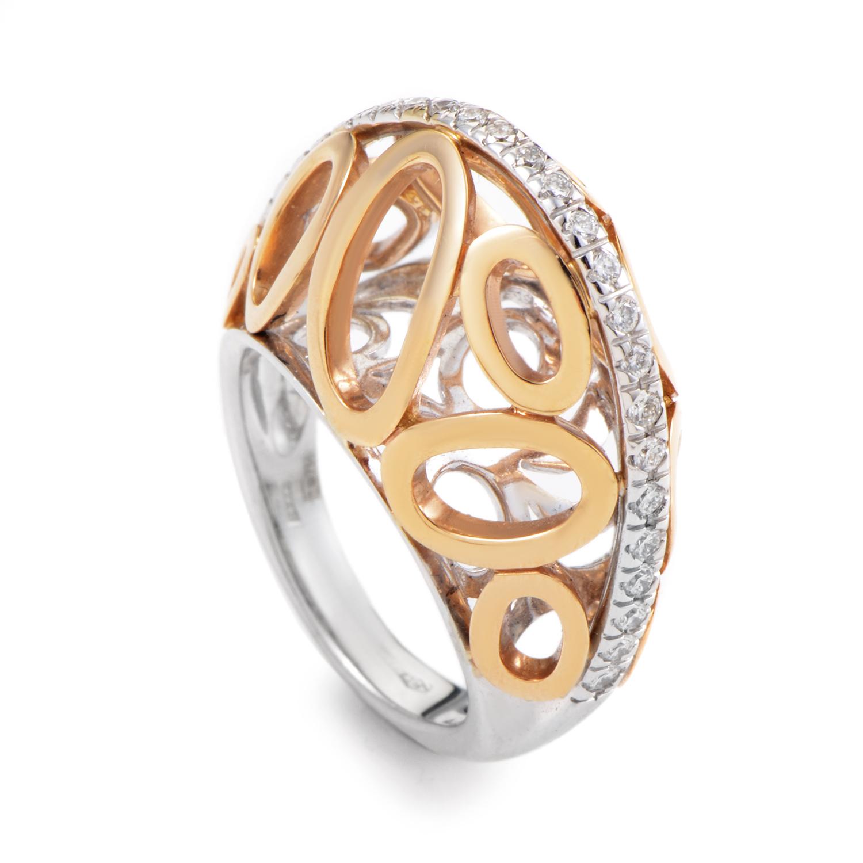 18K Yellow & White Gold Diamond Ovals Band Ring PM-2-031616