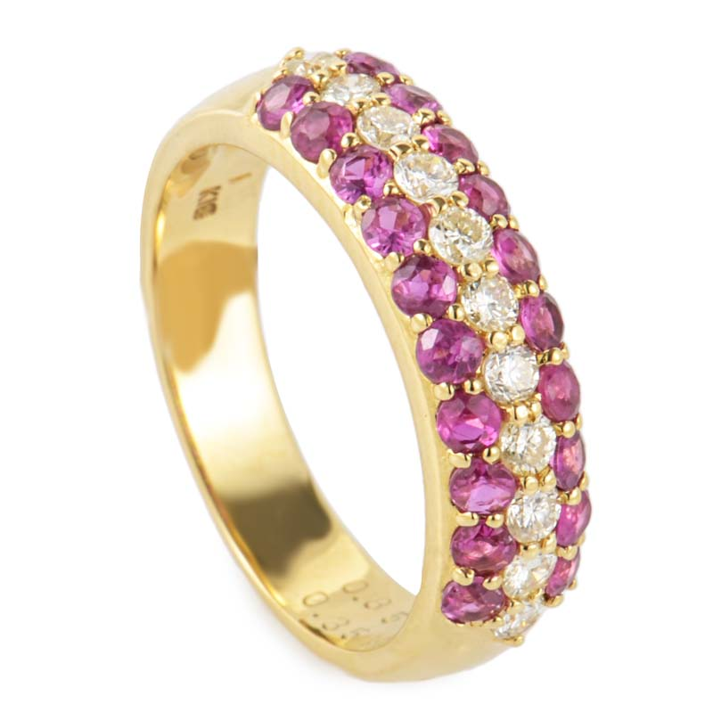 18K Yellow Gold Diamond & Ruby Band QZXC0604