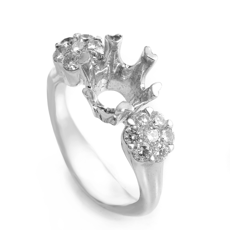 18K White Gold Diamond Mounting Ring R1120-100