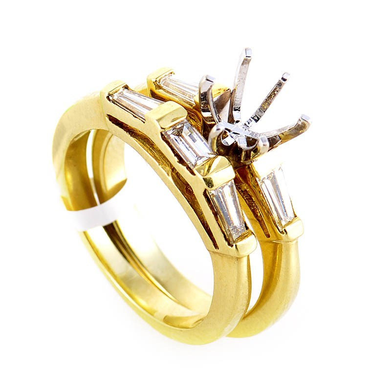 18K Yellow Gold Diamond Bridal Mounting Set