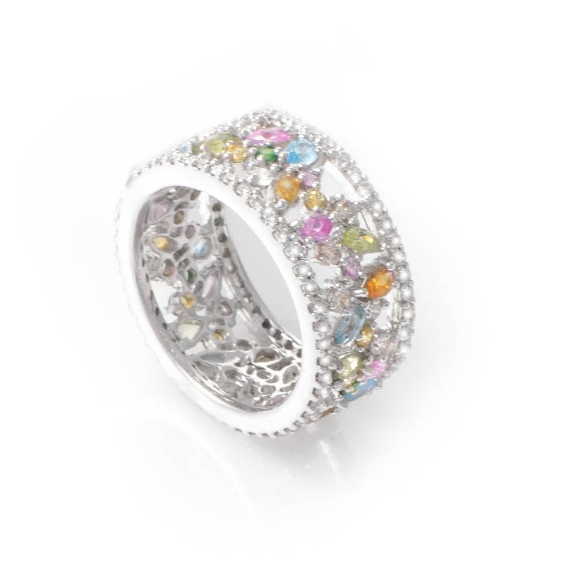 18K White Gold Rainbow Gem Band Ring