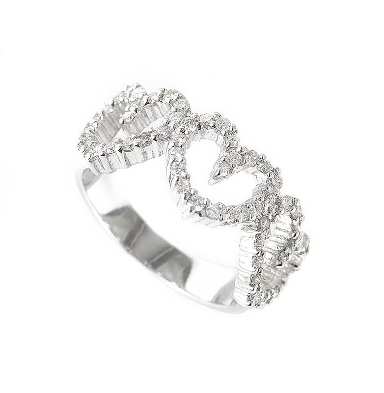 18K White Gold Diamond Set Hearts Ring