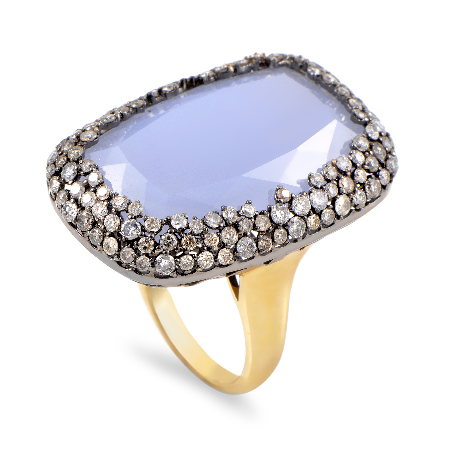 Women's 14K Multi-Tone Gold Diamond & Chalcedony Cocktail Ring