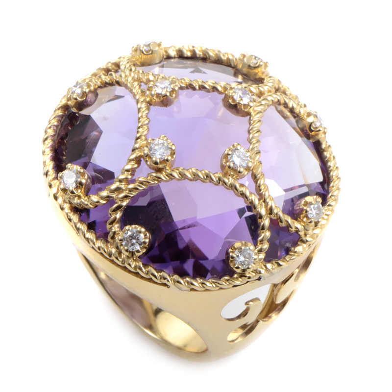 18K Yellow Gold Amethyst & Diamond Cocktail Ring RC8-10001YAM