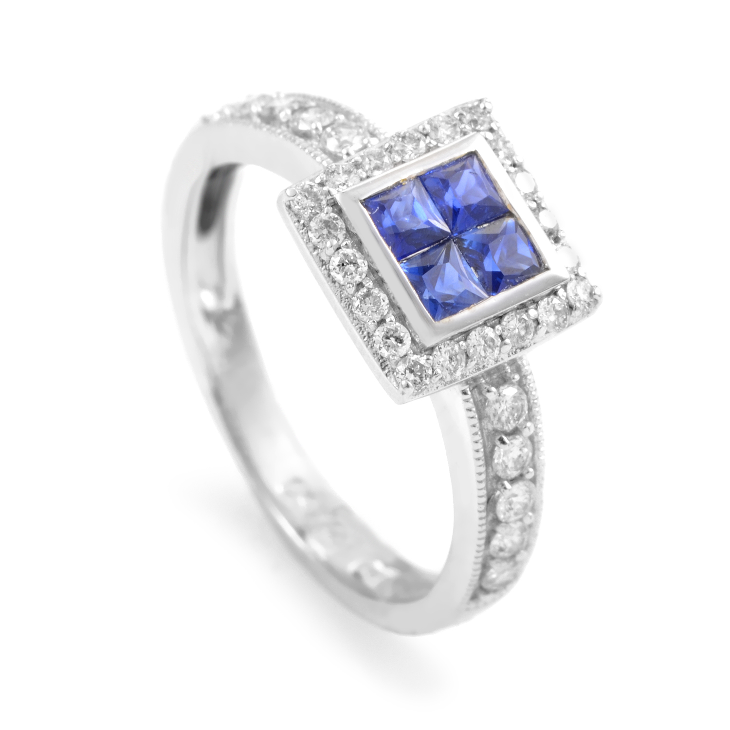 18K White Gold Sapphire & Diamond Ring RC8-10573WSA