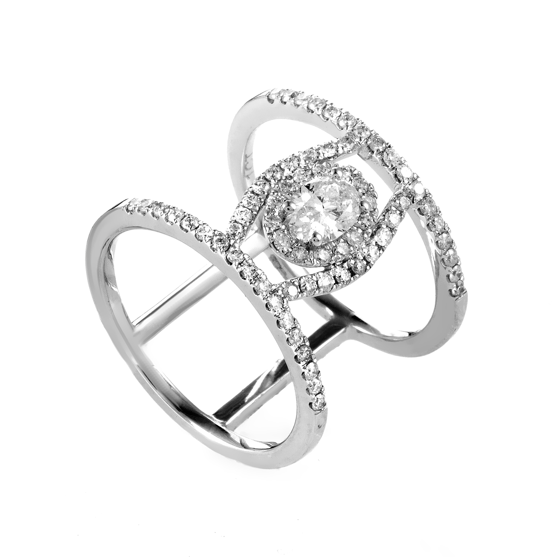 14K White Gold Diamond Band Ring RD4-10240W