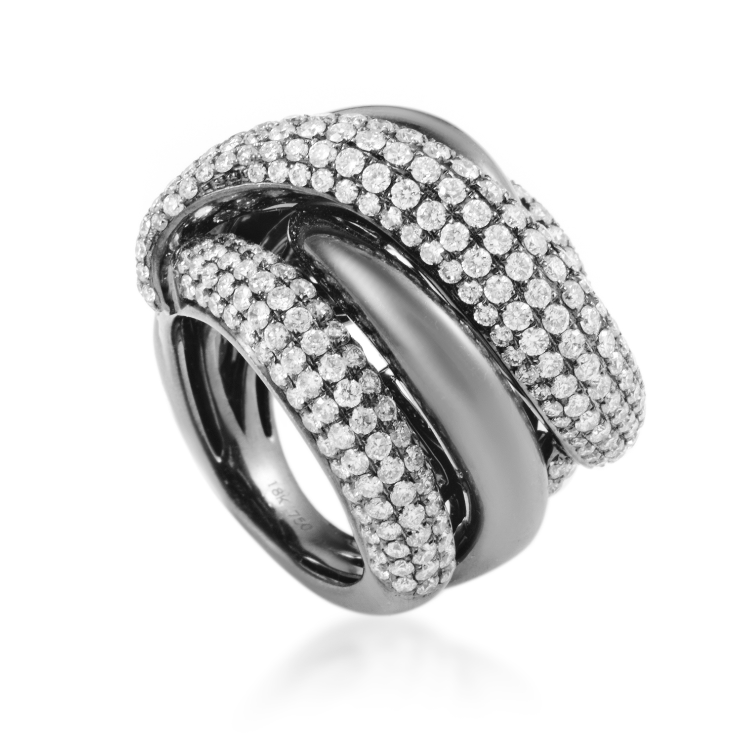 Women's 18K White Gold Twisted Diamond Ring RG5336