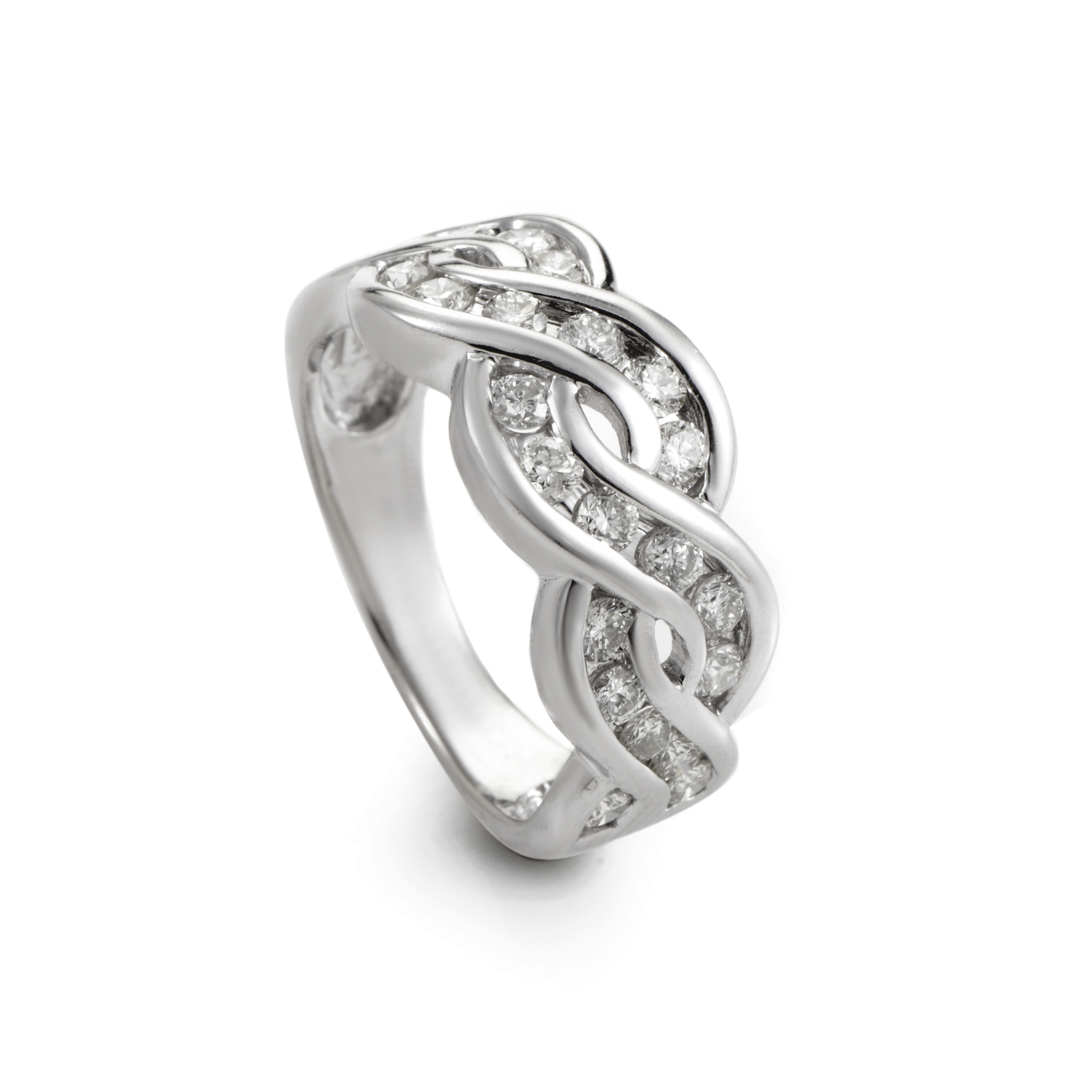 14K White Gold Wavy Diamond Band Ring RM7572W