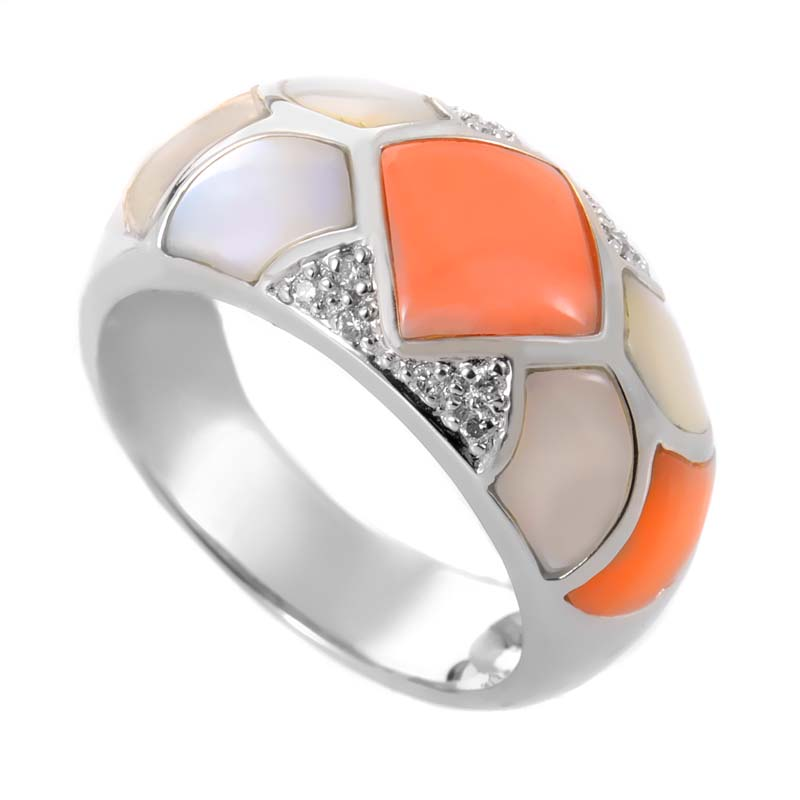 18K White Gold Mother of Pearl & Coral Diamond Band