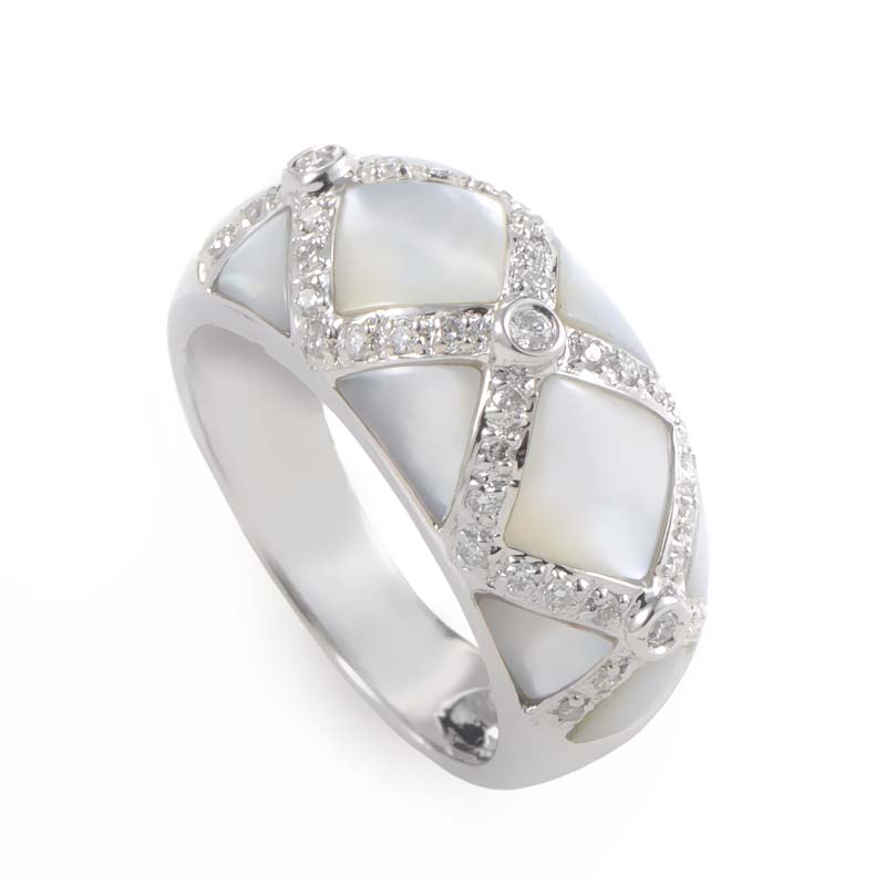 18K White Gold Mother of Pearl Diamond Ring RR0089909AD
